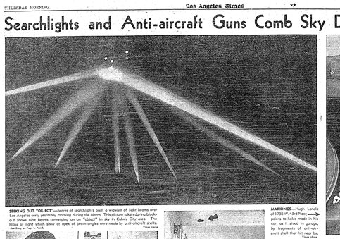 Image: Headline: Only Known Picture of the Battle of Los Angeles