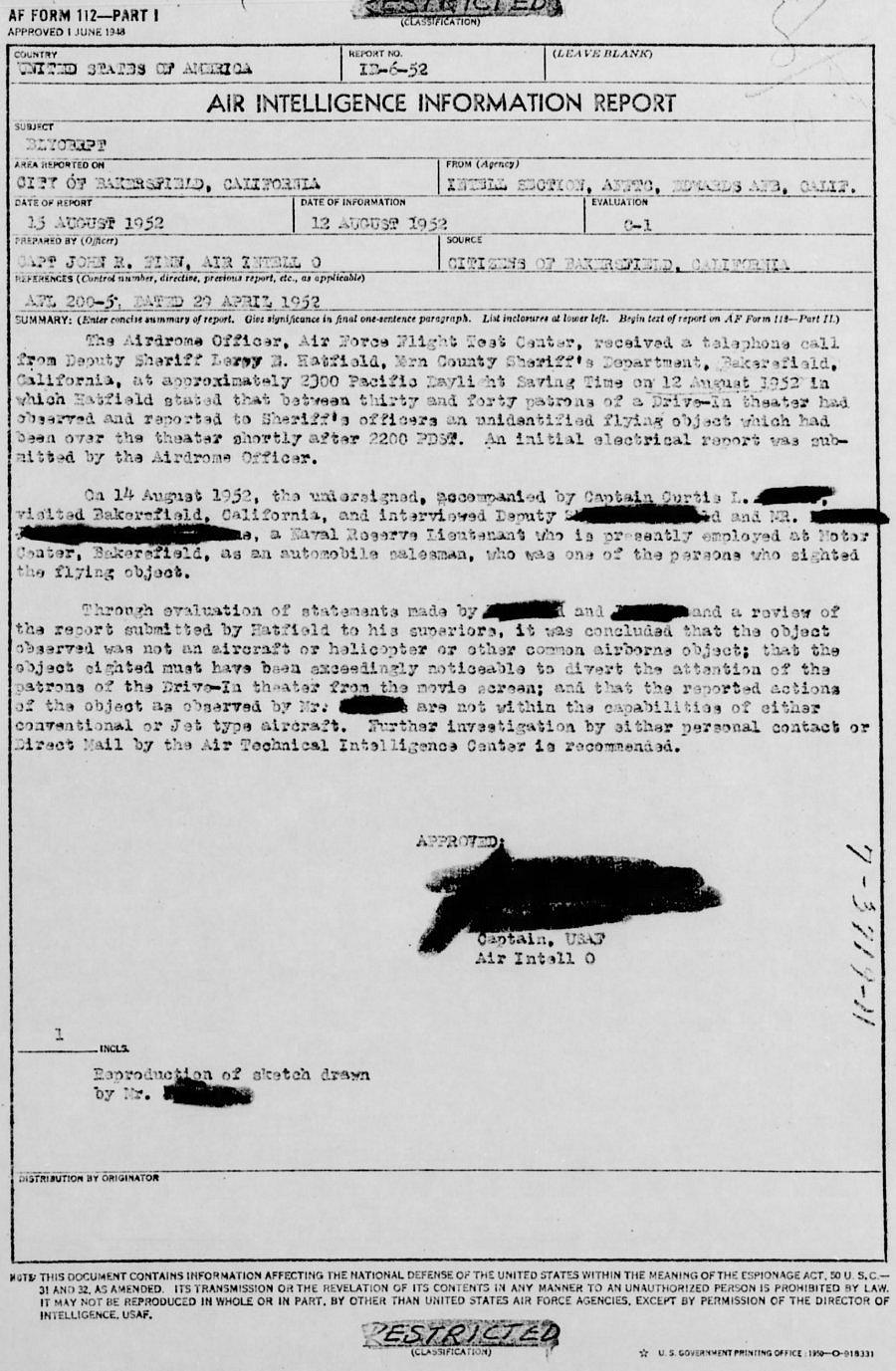 Bakersfield UFO 1952