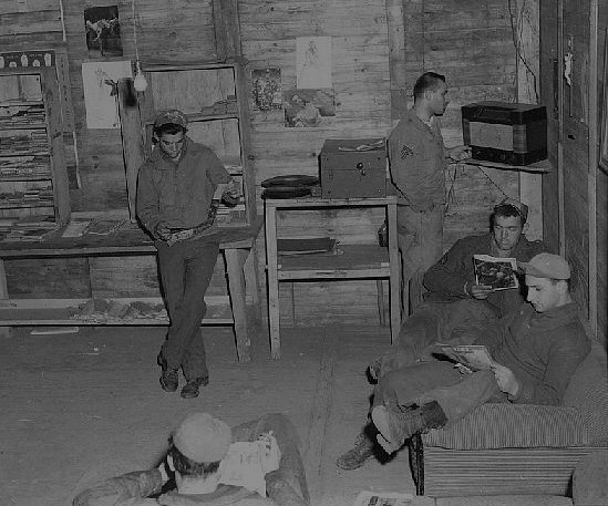 Airmen in Rec Room in France