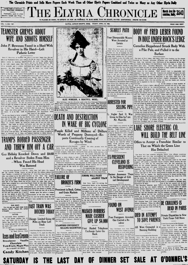 Elyria Chronicle Front Page 1908