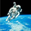 US Astronaut Bruce Mccandless Conducting Space Walk During Challenger IV Space Shuttle Mission